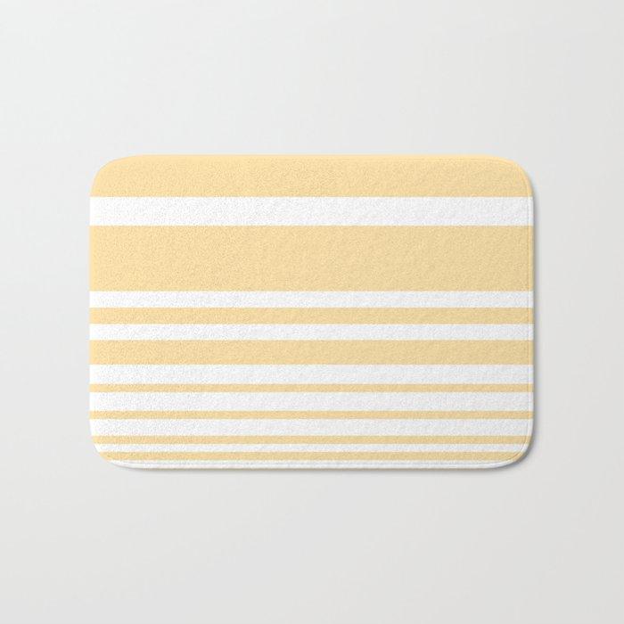 Scandi Pastel Lemon Stripes Bath Mat