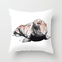 walrus Throw Pillows featuring Walrus by ZOO (William Redgrove)