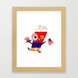 Fourth of July Firecracker Cartoon Framed Art Print