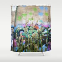 cycle Shower Curtains featuring Cycle by Calle de Rosa