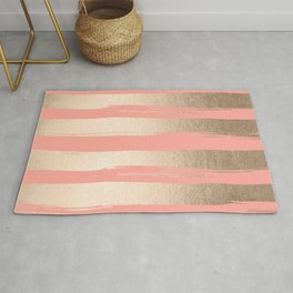 Painted Stripes Tahitian Gold on Coral Pink Rug