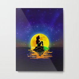 The Mermaid and the Moon Metal Print