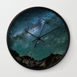 Milky Way over mountain range Wall Clock