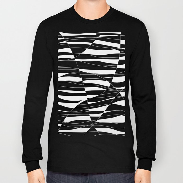 Carved Black and White Wave Long Sleeve T-shirt