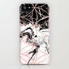 pink marble with mandala rose gold pattern iPhone Case