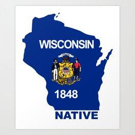 Wisconsin Flag State - Native Art Print