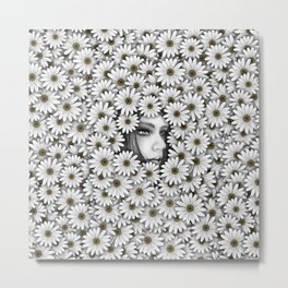 Girl with daisies Metal Print