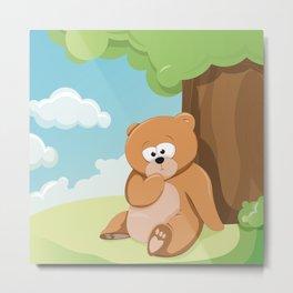 Cute Bear Relaxing Under a Tree Metal Print