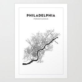 PHILADELPHIA MAP PRINT Art Print
