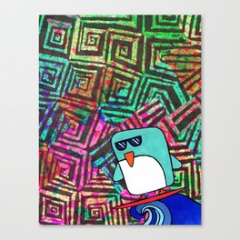 swirls&squares surfing penguin Canvas Print