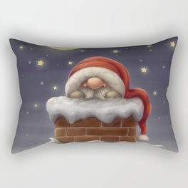 Little Santa in a chimney Rectangular Pillow