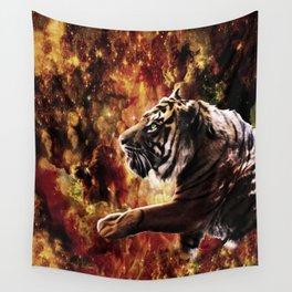 Tiger Stroll Through the Glittery Galaxy Ravine Wall Tapestry