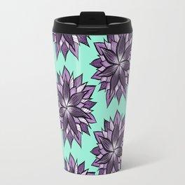 Purple Mandala Like Abstract Flower Travel Mug