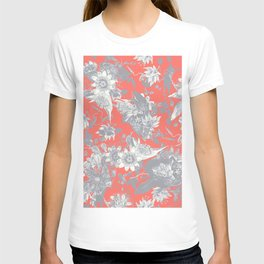 Silver Grey Passion Flowers on Coral Red T-shirt