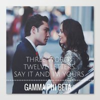 gossip girl Canvas Prints featuring Gamma Phi Beta & Gossip Girl by Leona LA