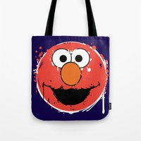 elmo Tote Bags featuring Elmo splatt by Firepower
