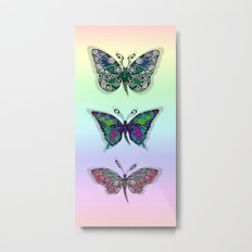 Rainbow Butterflys Metal Print