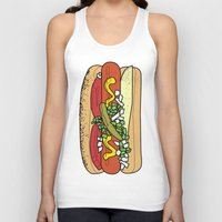 hot dog Tank Tops featuring HOT DOG by RUMOKO x Vintage Cheddar