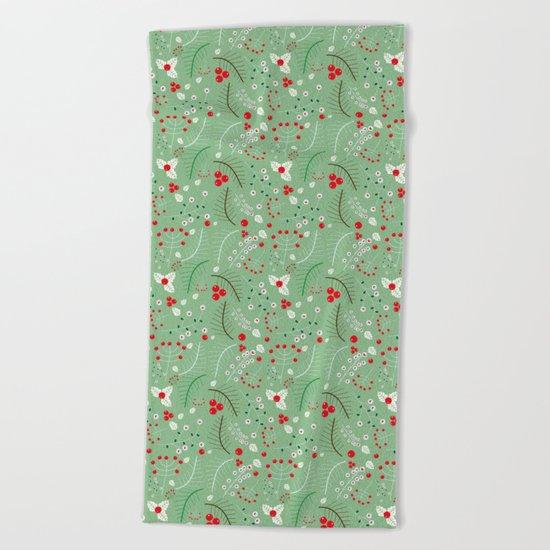 Mistletoe green Beach Towel