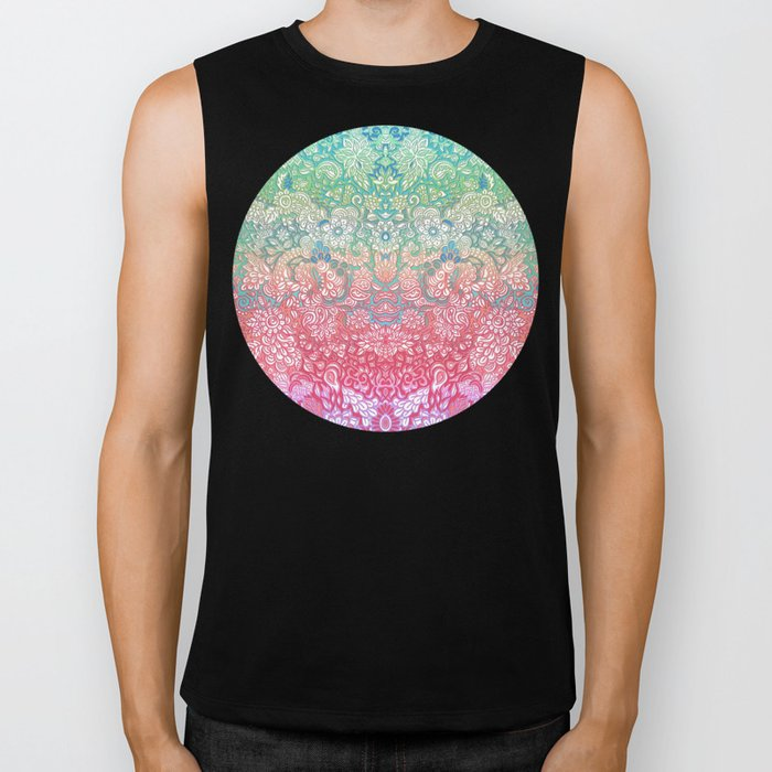 Soft Pastel Rainbow Doodle Biker Tank