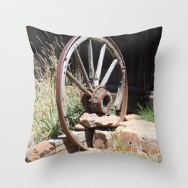 road trip, wagon wheel, old west, history Throw Pillow
