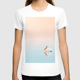WHITE PELICAN ON BODY OF WATER T-shirt