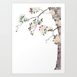 pink cherry blossom Japanese woodblock prints style Art Print