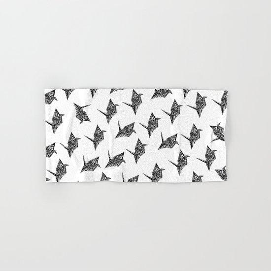 Paper Crane Bird Origami Doodle Pattern Hand & Bath Towel