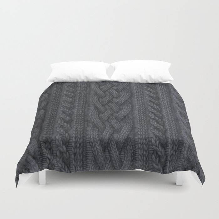 Charcoal Cable Knit Duvet Cover