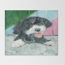 Sammy the Parti-poodle Pup Throw Blanket