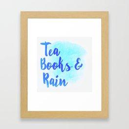 Tea, Books & Rain Framed Art Print