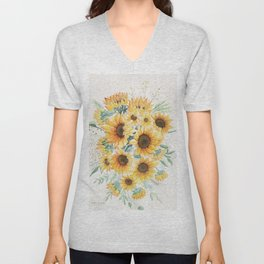 Loose Watercolor Sunflowers Unisex V-Neck
