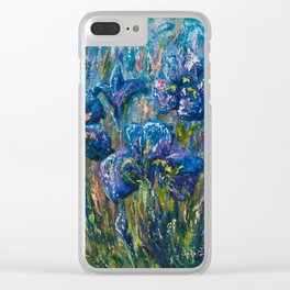 Countryside Irises Oil painting with palette knife Clear iPhone Case