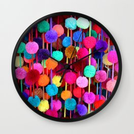 Rainbow Pom-poms (Horizontal) Wall Clock