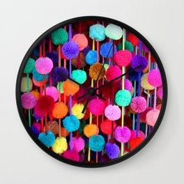 Rainbow Pom-poms (Horizontal) Wall Clock
