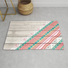 Andes Tribal Aztec Coral Teal Chevron Wood Pattern Rug