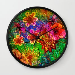 Tropical Heat-Colorful Floral Exotic Tropical Flower Pattern Wall Clock