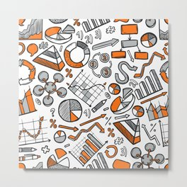 Charts Sketch Seamless Pattern Metal Print