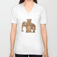 bastille V-neck T-shirts featuring Elephant Bastille by Bluepress