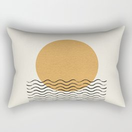 Ocean wave gold sunrise - mid century style Rectangular Pillow