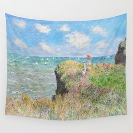 Cliff Walk at Pourville (1882) by Claude Monet Wall Tapestry