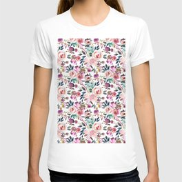 Hand painted blush pink purple watercolor floral T-shirt