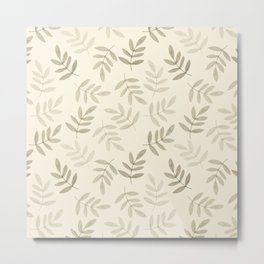 Vintage white gray black pastel color leaves pattern Metal Print