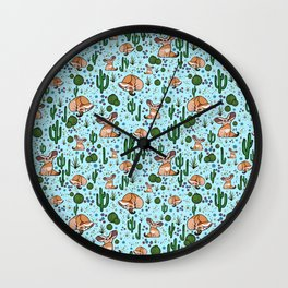 Cute Desert and Fennec Fox Pattern Wall Clock