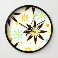 70s Wall Clocks featuring 70s flowers by Keyweegirlie