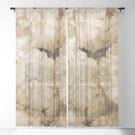 Monochrome Abstract Mums Sheer Curtain