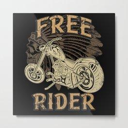 American Motorcycle Spirit Native Biker Metal Print