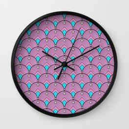 Purple Pastels Art Deco Fan Pattern Wall Clock