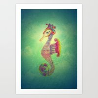 Seahorse Lady Art Print