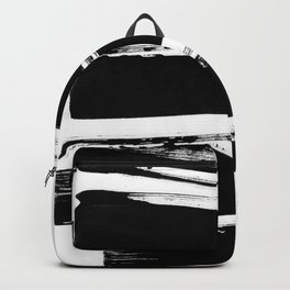 Stripes Black & White Minimalist Abstract Mid century Ink Art Dark Brush Strokes Backpack